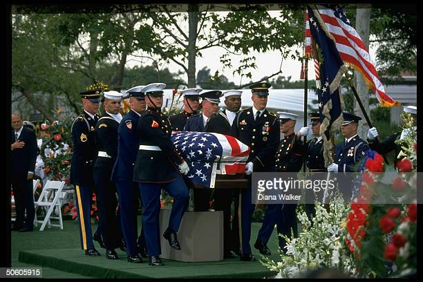 Honor guard bearing former Pres Richard Nixon's flagdraped coffin during funeral service