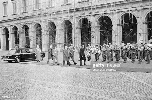 Honor guard for USA President Richard Nixon accompanied by Italian President Giuseppe Saragat Rome February 1969