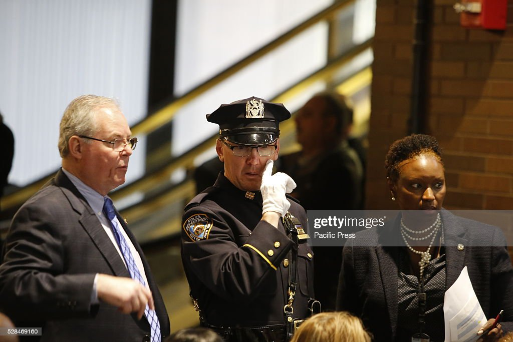 NYPD honor guard leader prior to the start of the ceremony. NYC mayor Bill de Blasio & NYPD commissioner William Bratton presided over a solemn annual ceremony at One Police Plaza adding names to the NYPD's Memorial Wall of officers who have died in the line of duty or in duty-related circumstances.