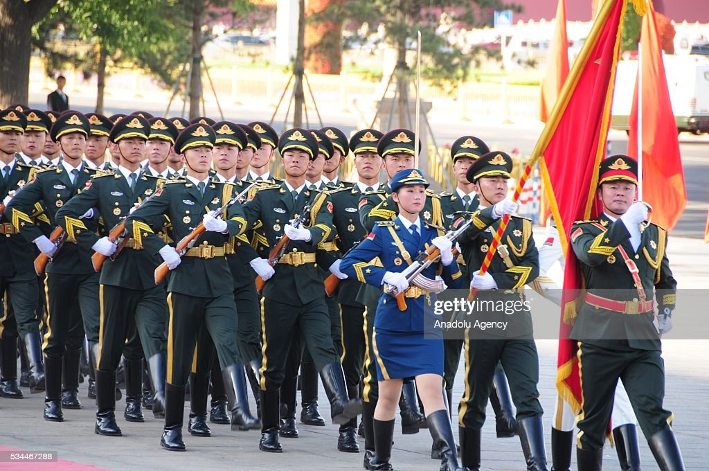 Honor guard march during an official welcome ceremony for Indian President prior to a meeting of Indian President Pranab Mukherjee and China's President Xi Jinping in Beijing, China on May 26, 2016.