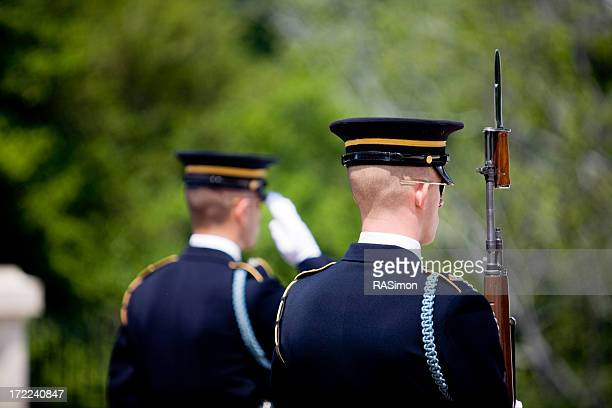 Honor guard posted at a funeral