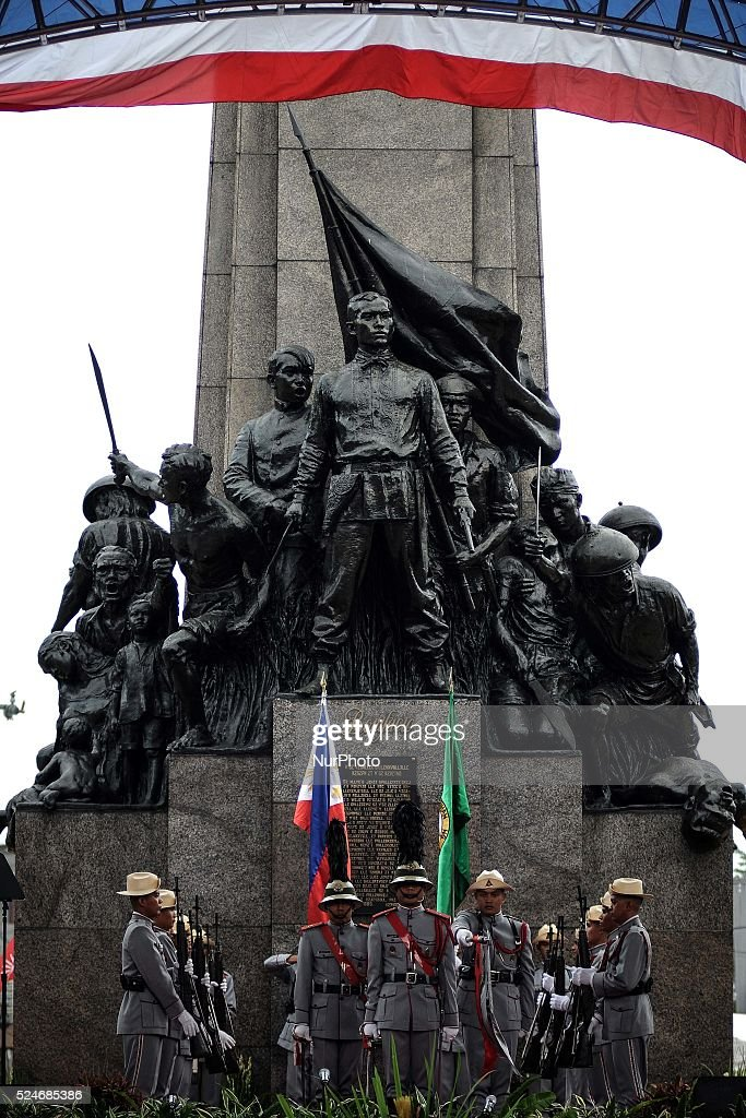 Honor guards are seen at the Bonifacio Monument Circle in Caloocan city Metro Manila Philippines November 30 2013 The country marks the 150th birth...