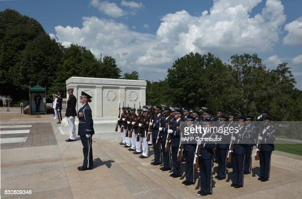 US honor guards are seen at the Tomb on the Unkonown Soldier during a wreath laying ceremony by Japan's Foreign Minister Taro Kono and Defense...