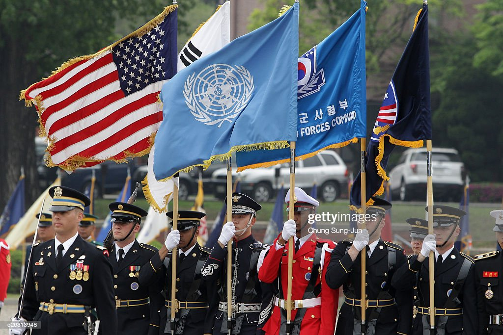 Honor Guards of the United Nations Command (UNC), the Combined Forces Command (CFC) and the United States Forces Korea (USFK) participate in a change-of-command ceremony at the Yonsan U.S. army base on April 30, 2016 in Seoul, South Korea. Brooks will succeed Gen. Curtis Scaparrotti, who had led 28,500 U.S. troops stationed in South Korea.