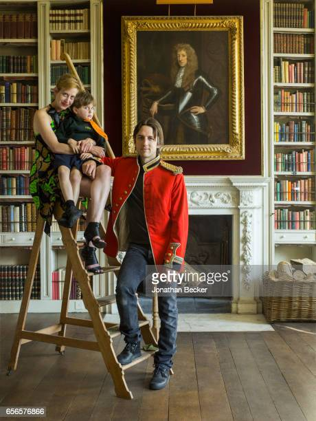 Honorable Nicholas AshleyCooper Earl of Shaftesbury is photographed with wife Dinah Streifeneder Countess of Shaftesbury and son Anthony on September...