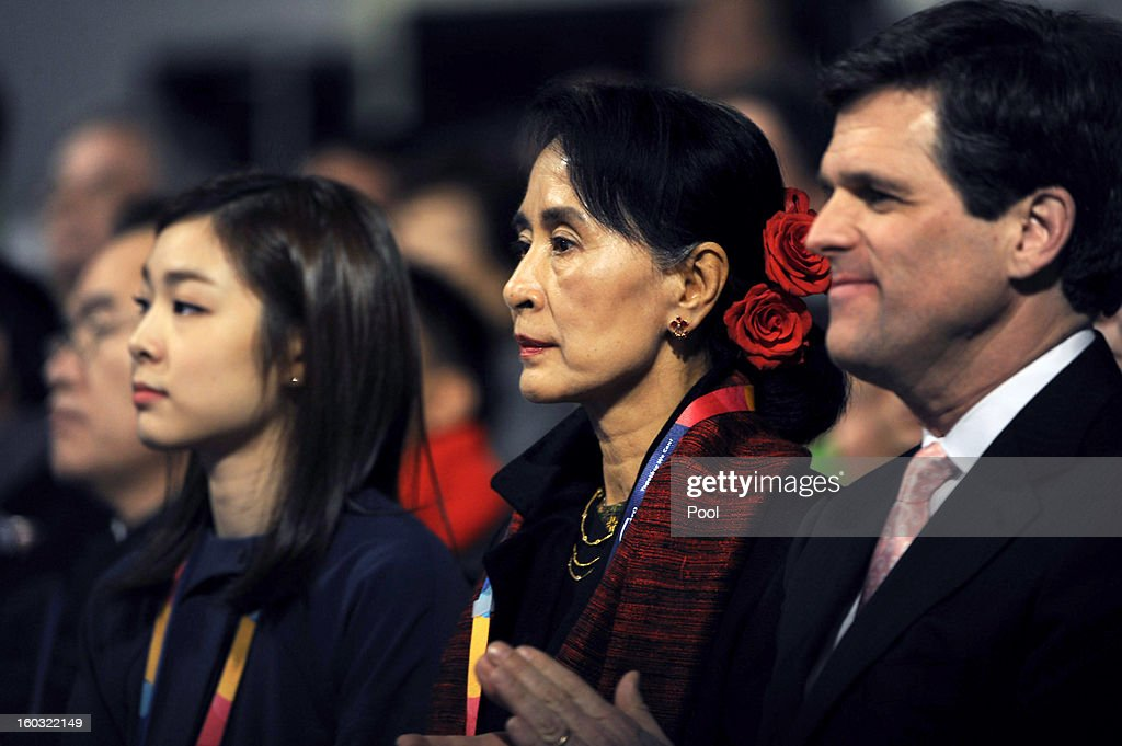 Honorary ambassador of Special Olympics Yuna Kim, Pro-democracy leader Aung San Suu Kyi and CEO of Special Olympics Timothy Shriver attend the Opening Ceremony of the 2013 Pyeongchang Special Olympics World Winter Games at the Yongpyeong stadium on January 29, 2013 in Pyeongchang-gun, South Korea.