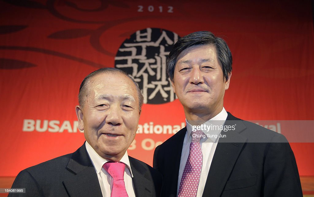 Honorary BIFF director, <a gi-track='captionPersonalityLinkClicked' href=/galleries/search?phrase=Kim+Dong-Ho&family=editorial&specificpeople=961641 ng-click='$event.stopPropagation()'>Kim Dong-Ho</a> and festival director Lee Yong-Kwan attend a closing party during the 17th Busan International Film Festival (BIFF) at Grand Hotel on October 13, 2012 in Busan, South Korea. The biggest film festival in Asia showcases 304 films from 75 countries and runs from October 4-13.