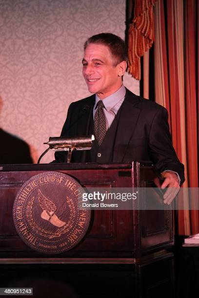 Honorary Chair and actor Tony Danza speaks onstage at the Table 4 Writers Foundation Second Annual Awards Gala at New York Athletic Club on March 27...