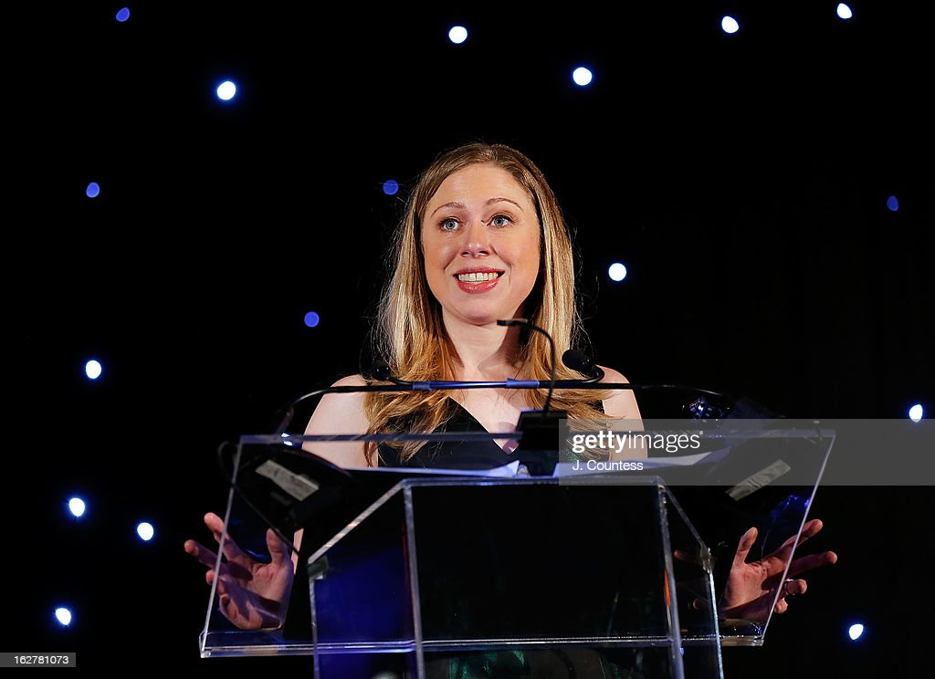 Honorary chairperson for the Dance Theatre Of Harlem <a gi-track='captionPersonalityLinkClicked' href=/galleries/search?phrase=Chelsea+Clinton&family=editorial&specificpeople=119698 ng-click='$event.stopPropagation()'>Chelsea Clinton</a> speaks during the Dance Theatre Of Harlem's 44th Anniversary Celebration at Mandarin Oriental Hotel on February 26, 2013 in New York City.