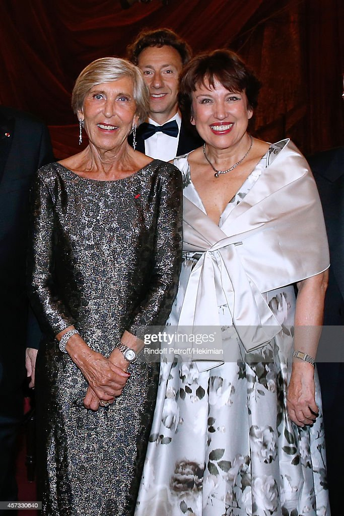 Honorary chairwoman of the committee Miss Jean Burelle, Stephane Bern and Roseline Bachelot-Narquin attend the AROP Charity Gala with Opera 'L'enlevement au Serail' from Mozart at Opera Garnier on October 16, 2014 in Paris, France.
