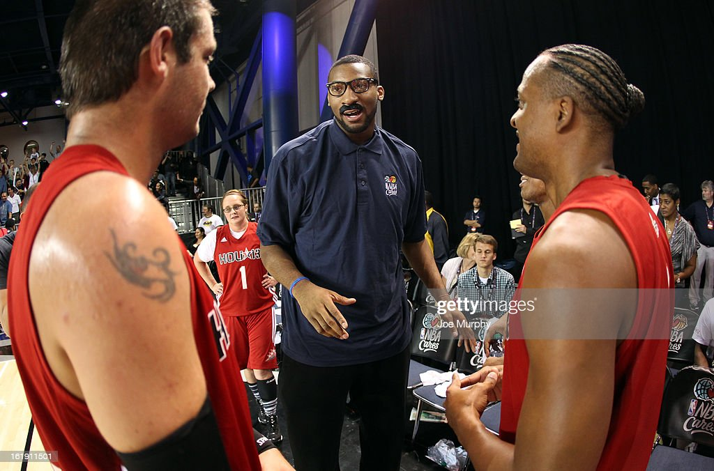 Honorary coach Andre Drummond coaches his team during the NBA Cares Special Olympics Unity Sports Basketball Game on Center Court during the 2013 NBA Jam Session on February 17, 2013 at the George R. Brown Convention Center in Houston, Texas.