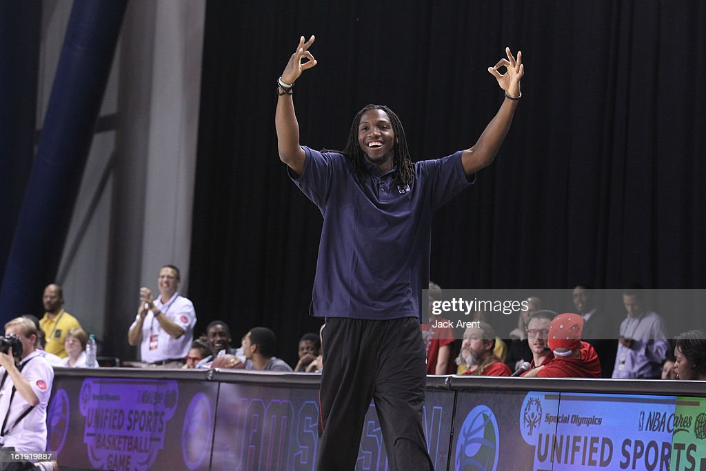 Honorary Coach Kenneth Faried of the West All-Stars reacts to a play during the NBA Cares Special Olympics Unified Sports Basketball Game on Center Court at Jam Session during the NBA All-Star Weekend on February 17, 2013 at the George R. Brown Convention Center in Houston, Texas.