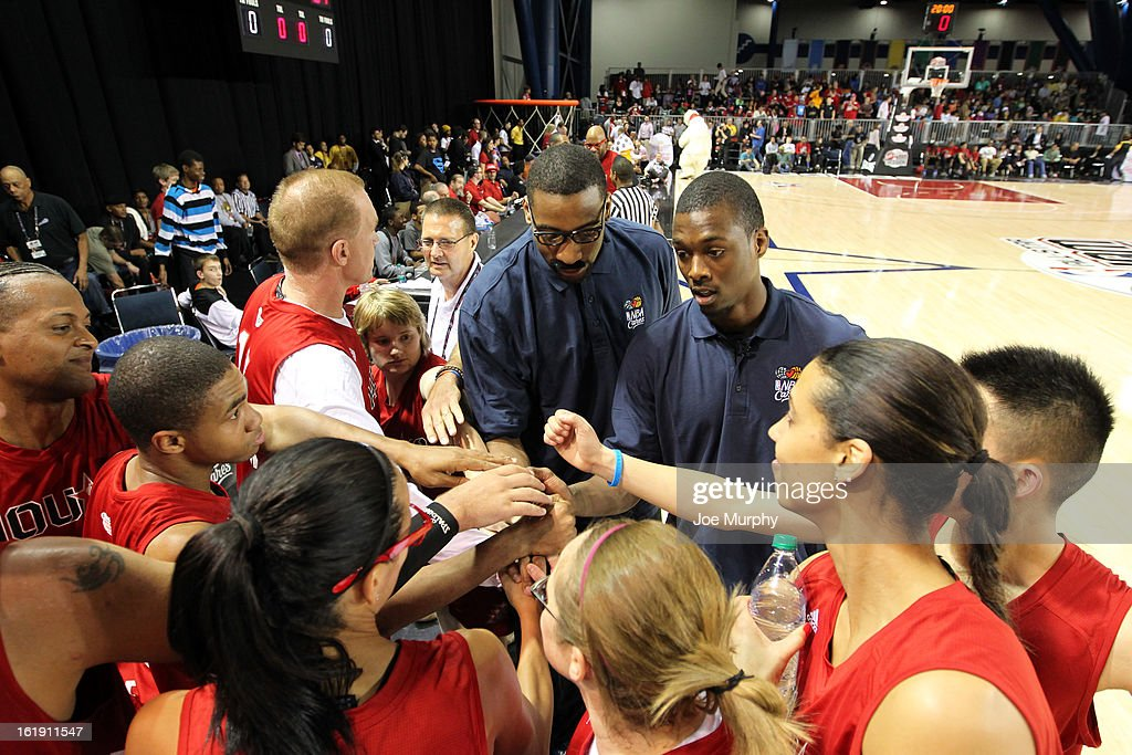 Honorary Coaches Andre Drummond and Harrison Barnes coach their team during the NBA Cares Special Olympics Unity Sports Basketball Game on Center Court during the 2013 NBA Jam Session on February 17, 2013 at the George R. Brown Convention Center in Houston, Texas.