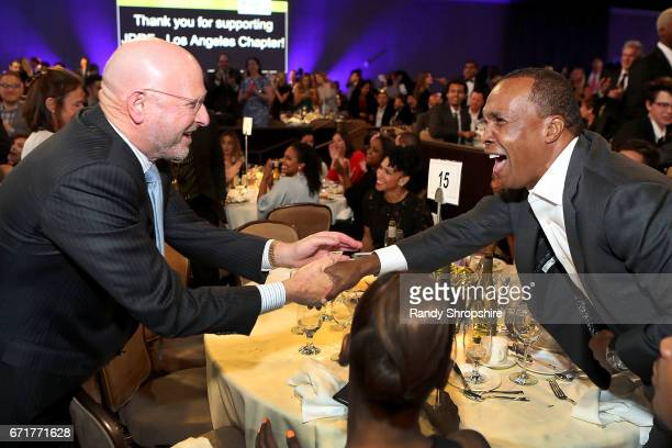 Honorary CoChair Steve Rader and Sugar Ray Leonard attend JDRF LA's IMAGINE Gala to benefit type 1 diabetes research at The Beverly Hilton on April...