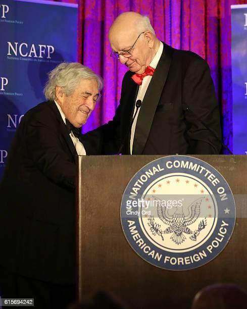 Honorary Cochairman Paul A Volcker presents James D Wolfensohn with the George F Kennan Award for Public Service onstage at the National Committee On...