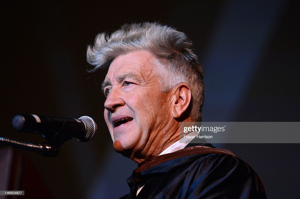 Honorary degree recipient <a gi-track='captionPersonalityLinkClicked' href=/galleries/search?phrase=David+Lynch&family=editorial&specificpeople=224589 ng-click='$event.stopPropagation()'>David Lynch</a> at the 2012 AFI Conservatory Commencement Ceremony at Grauman's Chinese Theatre on June 13, 2012 in Hollywood, California.