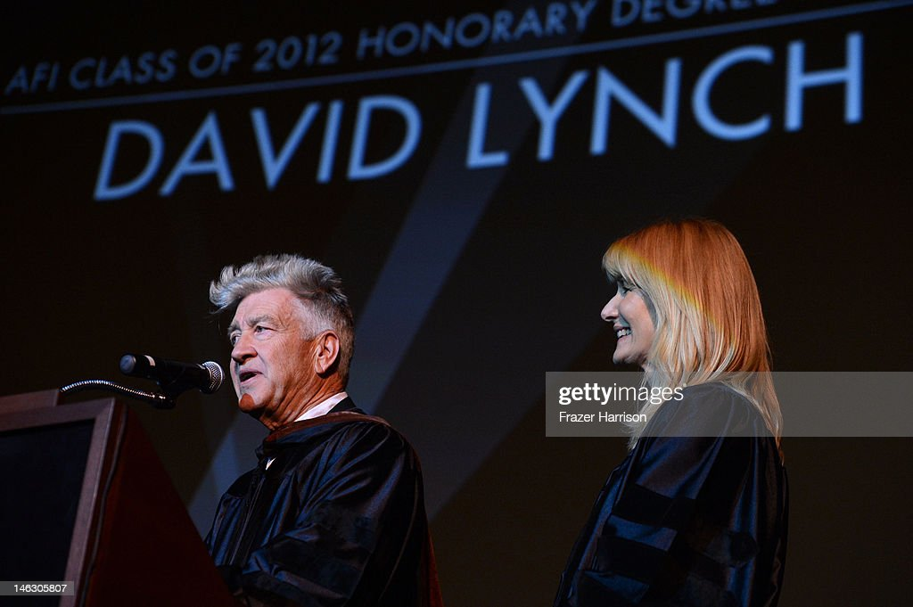 Honorary Degree recipient <a gi-track='captionPersonalityLinkClicked' href=/galleries/search?phrase=David+Lynch&family=editorial&specificpeople=224589 ng-click='$event.stopPropagation()'>David Lynch</a> receives his degree from actress <a gi-track='captionPersonalityLinkClicked' href=/galleries/search?phrase=Laura+Dern&family=editorial&specificpeople=204203 ng-click='$event.stopPropagation()'>Laura Dern</a> at the 2012 AFI Conservatory Commencement Ceremony at Grauman's Chinese Theatre on June 13, 2012 in Hollywood, California.