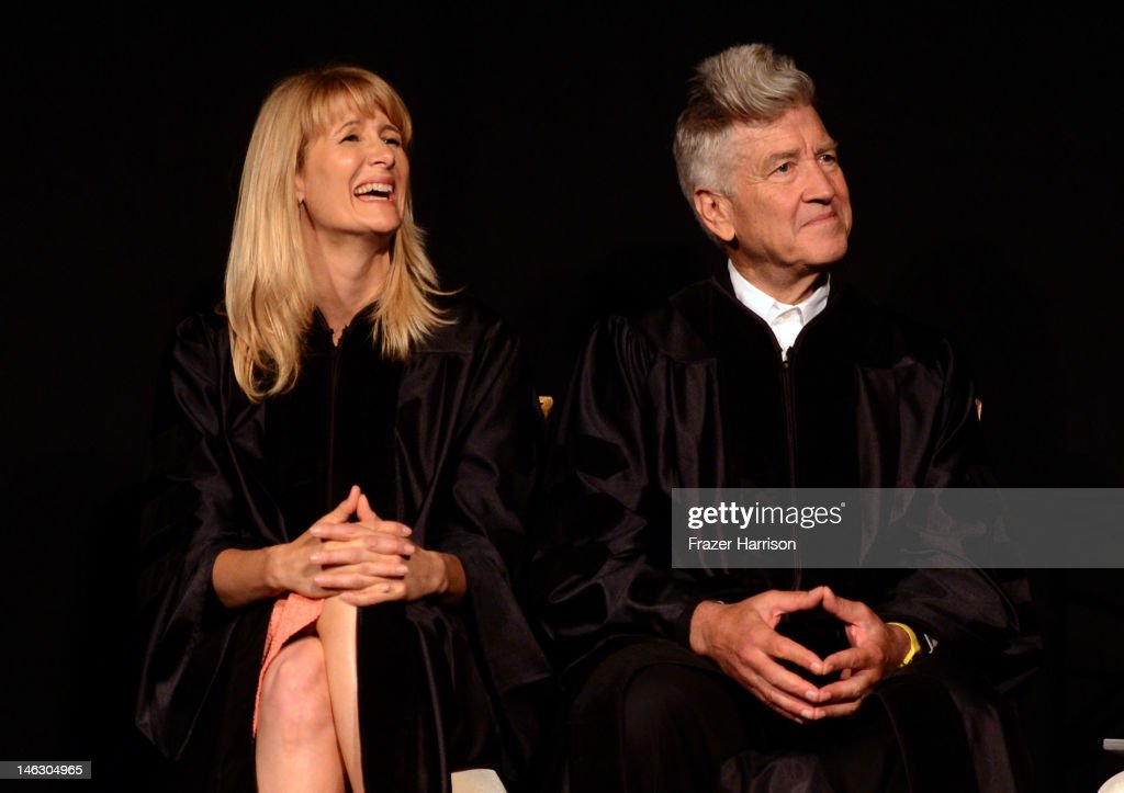Honorary degree recipient, director <a gi-track='captionPersonalityLinkClicked' href=/galleries/search?phrase=David+Lynch&family=editorial&specificpeople=224589 ng-click='$event.stopPropagation()'>David Lynch</a> with actress <a gi-track='captionPersonalityLinkClicked' href=/galleries/search?phrase=Laura+Dern&family=editorial&specificpeople=204203 ng-click='$event.stopPropagation()'>Laura Dern</a> at the 2012 AFI Conservatory Commencement Ceremony at Grauman's Chinese Theatre on June 13, 2012 in Hollywood, California.