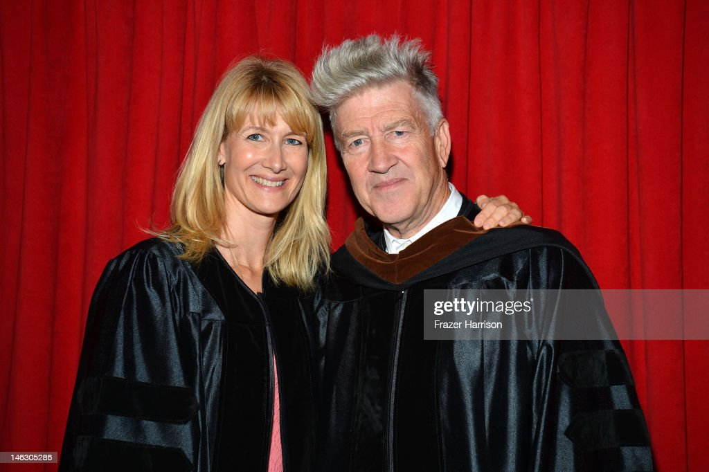AFI Honorary degree recipient director <a gi-track='captionPersonalityLinkClicked' href=/galleries/search?phrase=David+Lynch&family=editorial&specificpeople=224589 ng-click='$event.stopPropagation()'>David Lynch</a> with actress <a gi-track='captionPersonalityLinkClicked' href=/galleries/search?phrase=Laura+Dern&family=editorial&specificpeople=204203 ng-click='$event.stopPropagation()'>Laura Dern</a> at the 2012 AFI Conservatory Commencement Ceremony at Grauman's Chinese Theatre on June 13, 2012 in Hollywood, California.