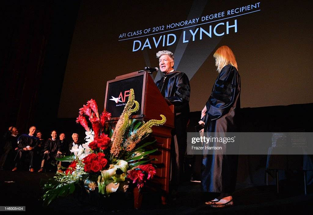 Honorary degree recipient, director <a gi-track='captionPersonalityLinkClicked' href=/galleries/search?phrase=David+Lynch&family=editorial&specificpeople=224589 ng-click='$event.stopPropagation()'>David Lynch</a> with actress <a gi-track='captionPersonalityLinkClicked' href=/galleries/search?phrase=Laura+Dern&family=editorial&specificpeople=204203 ng-click='$event.stopPropagation()'>Laura Dern</a> on stage at the 2012 AFI Conservatory Commencement Ceremony at Grauman's Chinese Theatre on June 13, 2012 in Hollywood, California.
