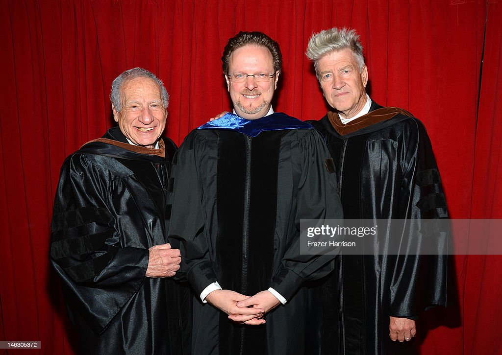 AFI Honorary degree recipient Mel Brooks, Bob Gazelle, AFI President & CEO and Honorary degree recipient director David Lynch at the 2012 AFI Conservatory Commencement Ceremony at Grauman's Chinese Theatre on June 13, 2012 in Hollywood, California.