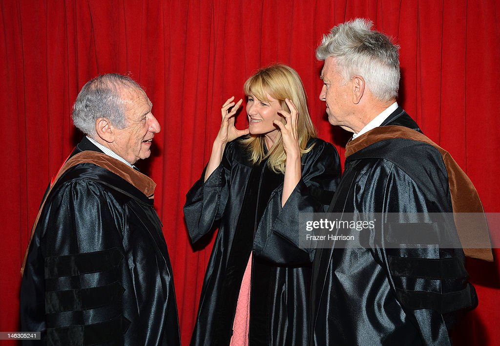 AFI Honorary degree recipient <a gi-track='captionPersonalityLinkClicked' href=/galleries/search?phrase=Mel+Brooks&family=editorial&specificpeople=208129 ng-click='$event.stopPropagation()'>Mel Brooks</a>, <a gi-track='captionPersonalityLinkClicked' href=/galleries/search?phrase=Laura+Dern&family=editorial&specificpeople=204203 ng-click='$event.stopPropagation()'>Laura Dern</a> and Honorary degree recipient director <a gi-track='captionPersonalityLinkClicked' href=/galleries/search?phrase=David+Lynch&family=editorial&specificpeople=224589 ng-click='$event.stopPropagation()'>David Lynch</a> at the 2012 AFI Conservatory Commencement Ceremony at Grauman's Chinese Theatre on June 13, 2012 in Hollywood, California.