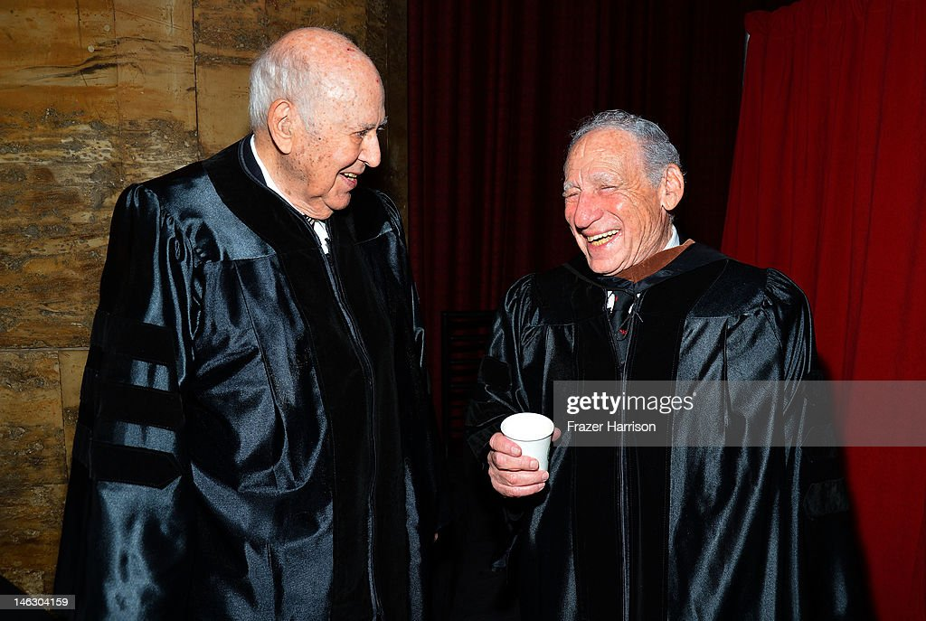 Honorary degree recipient <a gi-track='captionPersonalityLinkClicked' href=/galleries/search?phrase=Mel+Brooks&family=editorial&specificpeople=208129 ng-click='$event.stopPropagation()'>Mel Brooks</a> (left) with filmmaker <a gi-track='captionPersonalityLinkClicked' href=/galleries/search?phrase=Carl+Reiner&family=editorial&specificpeople=660635 ng-click='$event.stopPropagation()'>Carl Reiner</a> at the 2012 AFI Conservatory Commencement Ceremony at Grauman's Chinese Theatre on June 13, 2012 in Hollywood, California.