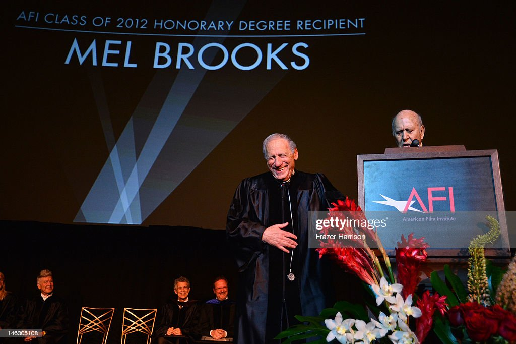 Honorary degree recipient <a gi-track='captionPersonalityLinkClicked' href=/galleries/search?phrase=Mel+Brooks&family=editorial&specificpeople=208129 ng-click='$event.stopPropagation()'>Mel Brooks</a> (left) with filmmaker <a gi-track='captionPersonalityLinkClicked' href=/galleries/search?phrase=Carl+Reiner&family=editorial&specificpeople=660635 ng-click='$event.stopPropagation()'>Carl Reiner</a> on stage at the 2012 AFI Conservatory Commencement Ceremony at Grauman's Chinese Theatre on June 13, 2012 in Hollywood, California.