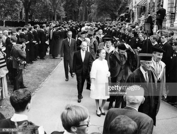 Honorary degree recipients and their escorts are pictured during the 1966 Harvard University commencement in Cambridge MA on Jun 16 1966 At front...