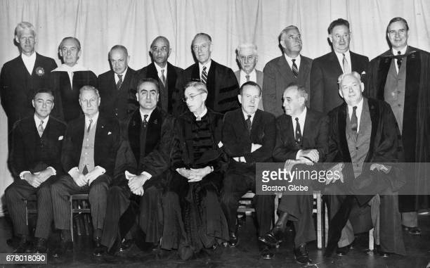 Honorary degree recipients at the 1953 Harvard University commencement pose in Cambridge MA on Jun 12 1953 From left seated in front are Roy E Larsen...