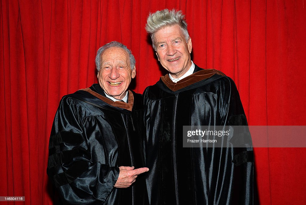 AFI Honorary degree recipients <a gi-track='captionPersonalityLinkClicked' href=/galleries/search?phrase=Mel+Brooks&family=editorial&specificpeople=208129 ng-click='$event.stopPropagation()'>Mel Brooks</a> and director <a gi-track='captionPersonalityLinkClicked' href=/galleries/search?phrase=David+Lynch&family=editorial&specificpeople=224589 ng-click='$event.stopPropagation()'>David Lynch</a> at the 2012 AFI Conservatory Commencement Ceremony at Grauman's Chinese Theatre on June 13, 2012 in Hollywood, California.