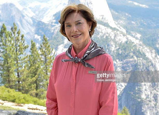 Honorary Find Your Park CoChair Mrs Laura Bush visits Yosemite National Park for the 99th birthday of the National Park Service on July 30 2015 in...