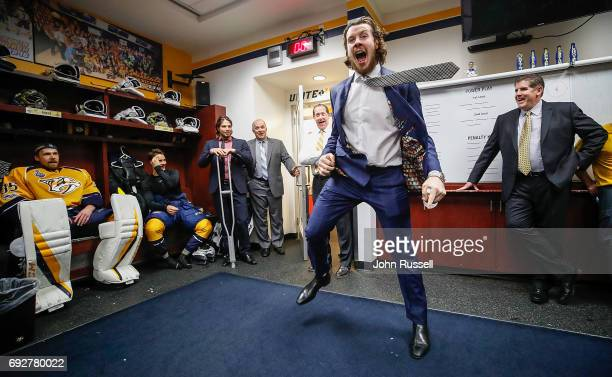 Honorary Mayor of Nashville Ryan Johansen of the Nashville Predators gives his postgame locker room talk after a 41 win against the Pittsburgh...