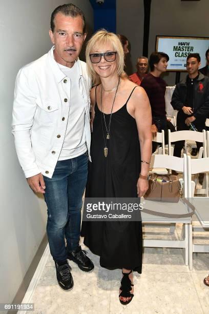 Honorary President Antonio Banderas and Excutive fashion and beauty editor Harper's Bazaar US Avril Graham attend Miami Fashion Week Master Classes...