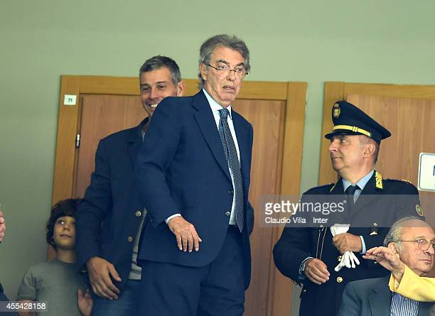 Honorary President FC Internazionale Massimo Moratti attends the Serie A match between FC Internazionale Milano and US Sassuolo Calcio at Stadio...