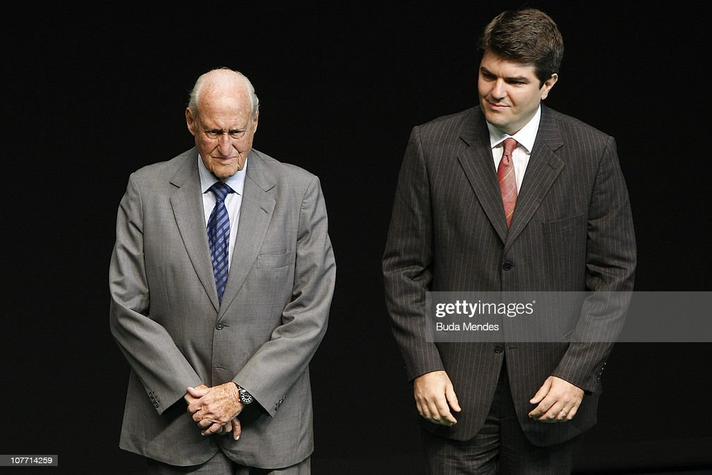 FIFA honorary president <a gi-track='captionPersonalityLinkClicked' href=/galleries/search?phrase=Joao+Havelange&family=editorial&specificpeople=552184 ng-click='$event.stopPropagation()'>Joao Havelange</a> and Globo TV reporter Joao Pedro Paes Leme during the ceremony of Brazil's Olympics award Premio Brasil Olimpico at the MAM Theater on December 20, 2010 in Rio de Janeiro, Brazil.