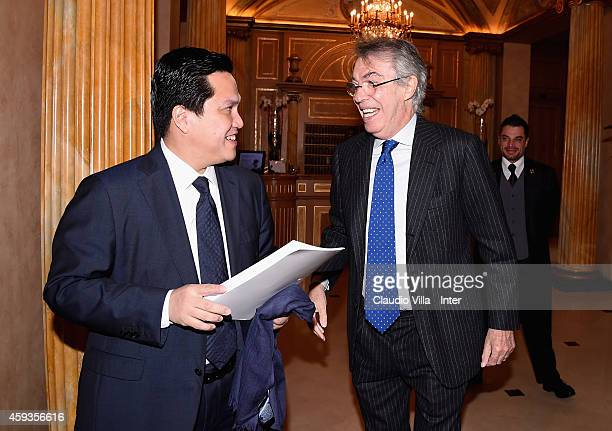 Honorary President Massimo Moratti and President Erick Thohir during FC Internazionale Milano Shareholders' Meeting on November 21 2014 in Milan Italy