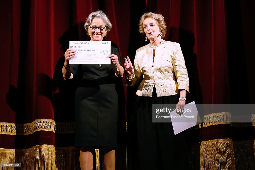 Honorary President of Care France, Countess Marina de Brantes and Director of Montparnasse Theater, Myriam Feune de Colombi presenting 'La Dame De La Mer' : Gala play to benefit Care Humanitarian Organization, held in Montparnasse Theater in Paris on October 8, 2013 in Paris, France.