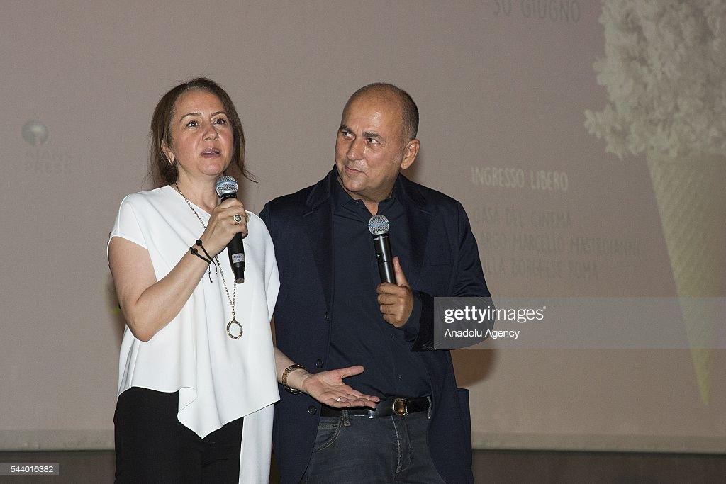 Honorary president of the film festival Ferzan Ozpetek producer Zumrut Arol Bekce speak during the Opening Ceremony of the V. Film Festival Turco at House of Cinema-Villa Borghese on June , 30, 2016 in Rome, Italy.