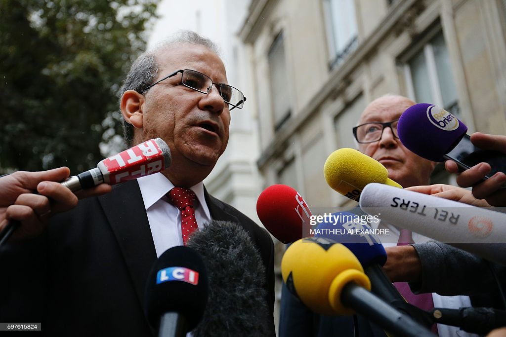 Honorary President of the French Council of Muslim Faith Mohammed Moussaoui speaks to journalists after a meeting with Interior Minister and...