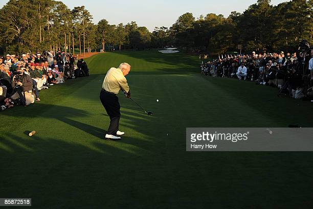 Honorary starter Arnold Palmer hits his tee shot on the first tee during the first round of the 2009 Masters Tournament at Augusta National Golf Club...
