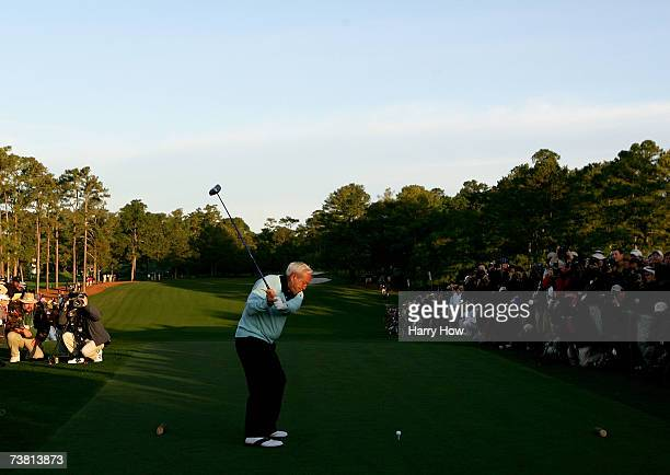Honorary starter Arnold Palmer hits the first shot during the first round of The Masters at the Augusta National Golf Club on April 5 2007 in Augusta...
