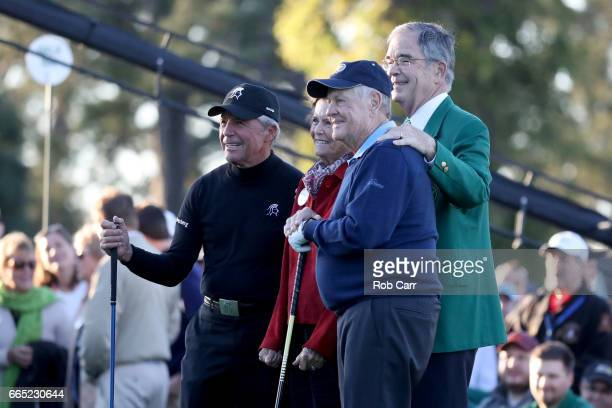 Honorary starter Gary Player Kathleen 'Kit' Palmer Honorary starter Jack Nicklaus and Chairman of Augusta National Golf Club William Porter 'Billy'...