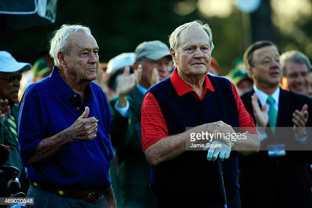 Honorary Starters Arnold Palmer and Jack Nicklaus of the United States wait on the first tee during the first round of the 2015 Masters Tournament at...