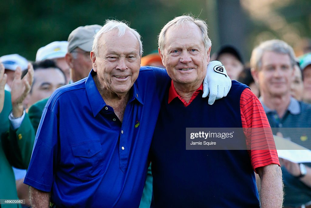 Honorary Starters <a gi-track='captionPersonalityLinkClicked' href=/galleries/search?phrase=Arnold+Palmer&family=editorial&specificpeople=93096 ng-click='$event.stopPropagation()'>Arnold Palmer</a> and <a gi-track='captionPersonalityLinkClicked' href=/galleries/search?phrase=Jack+Nicklaus&family=editorial&specificpeople=93565 ng-click='$event.stopPropagation()'>Jack Nicklaus</a> of the United States wait on the first tee during the first round of the 2015 Masters Tournament at Augusta National Golf Club on April 9, 2015 in Augusta, Georgia.