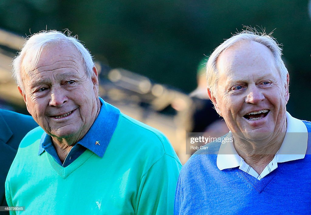 Honorary starters <a gi-track='captionPersonalityLinkClicked' href=/galleries/search?phrase=Arnold+Palmer&family=editorial&specificpeople=93096 ng-click='$event.stopPropagation()'>Arnold Palmer</a> and <a gi-track='captionPersonalityLinkClicked' href=/galleries/search?phrase=Jack+Nicklaus&family=editorial&specificpeople=93565 ng-click='$event.stopPropagation()'>Jack Nicklaus</a> wait on the first tee at the start of the first round of the 2014 Masters Tournament at Augusta National Golf Club on April 10, 2014 in Augusta, Georgia.