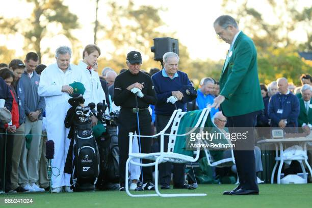 Honorary starters Jack Nicklaus Gary Player and Chairman of Augusta National Golf Club William Porter 'Billy' Payne take part in the first tee...