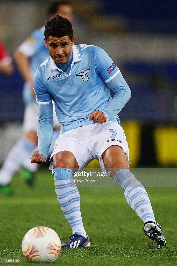 Honorato Ederson of S.S. Lazio in action during the UEFA Europa League Round of 16 second leg match between S.S. Lazio and VfB Stuttgart at Stadio Olimpico on March 14, 2013 in Rome, Italy.