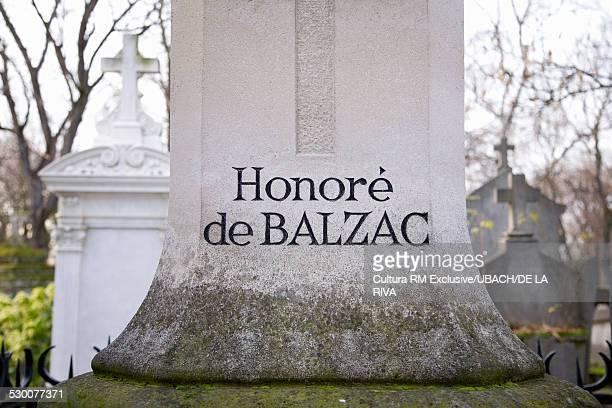 Honore de Balzac's grave, Pere-Lachaise cemetery, Paris, France