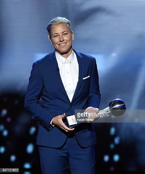 Honoree Abby Wambach accepts the Icon Award onstage during the 2016 ESPYS at Microsoft Theater on July 13 2016 in Los Angeles California